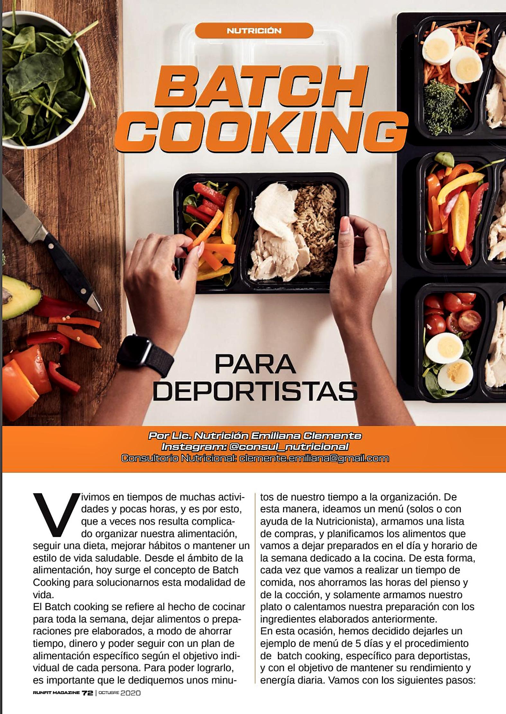 batch cooking Nutricion para deportistas
